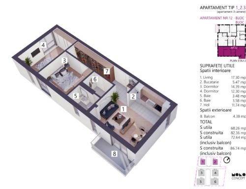 Apartament 3 Camere Tip A Etaj 2 Bloc 1