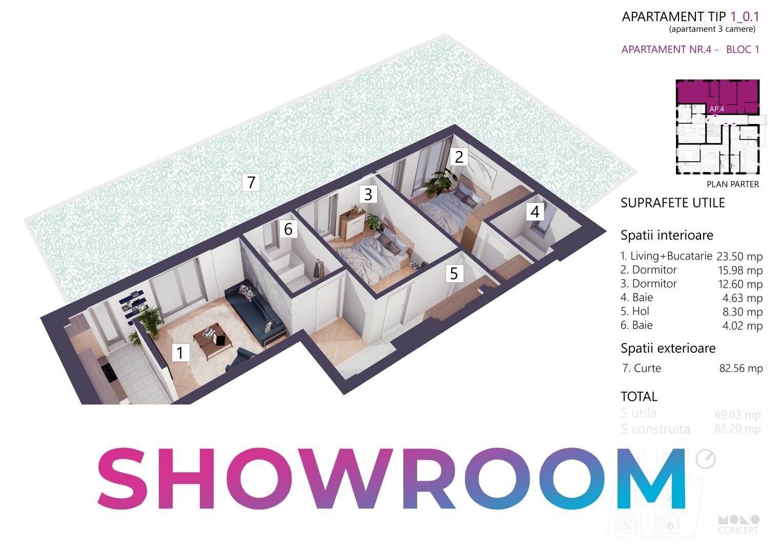 Showroom | Apartament 3 Camere Tip A Parter Bloc 1