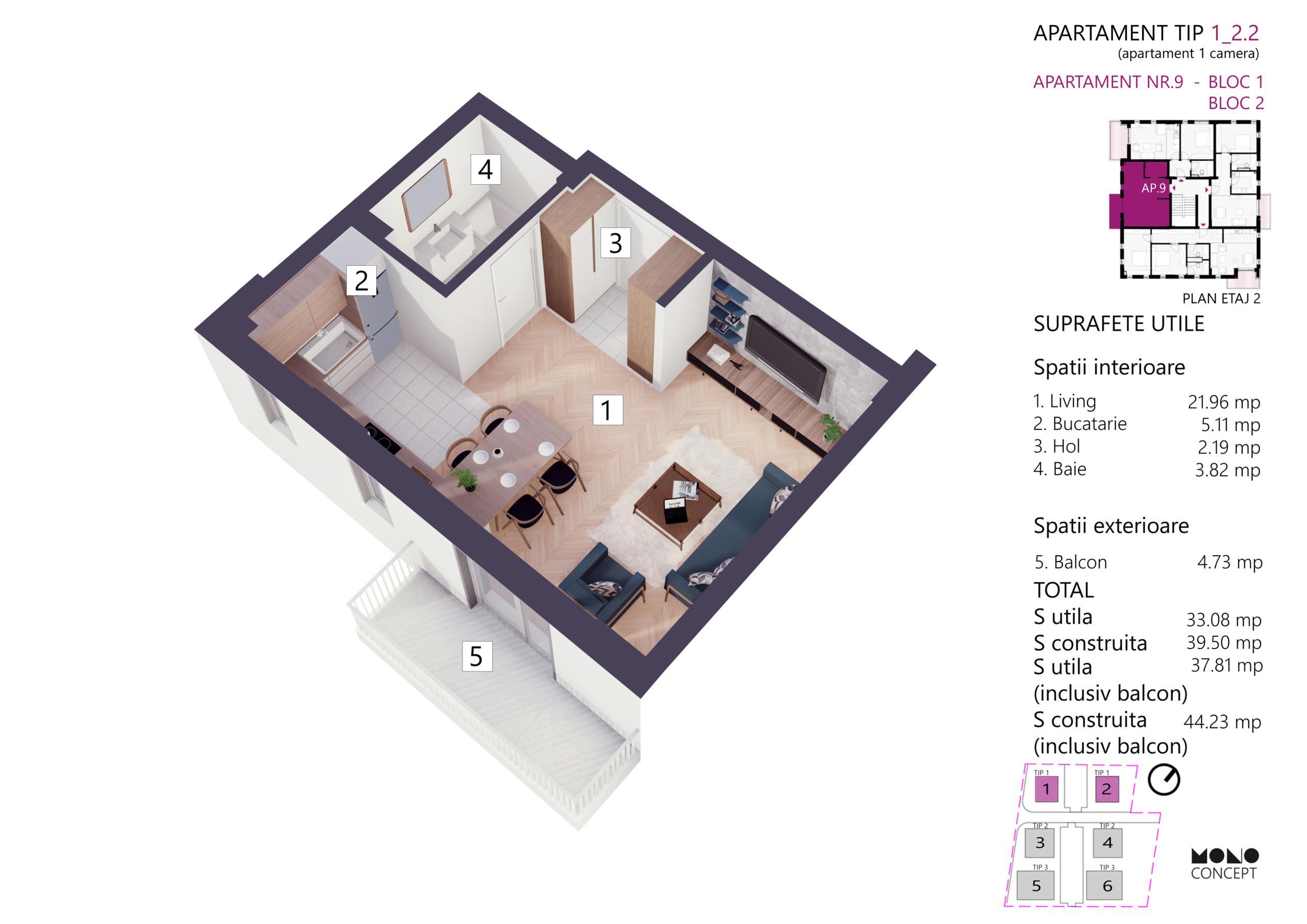 Apartament Studio Etaj 2 Tip A