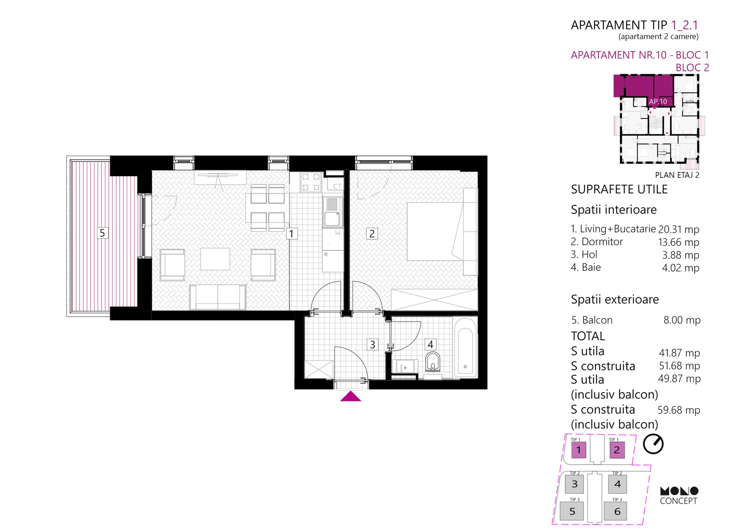 Apartament 2 Camere Etaj 2 Tip B