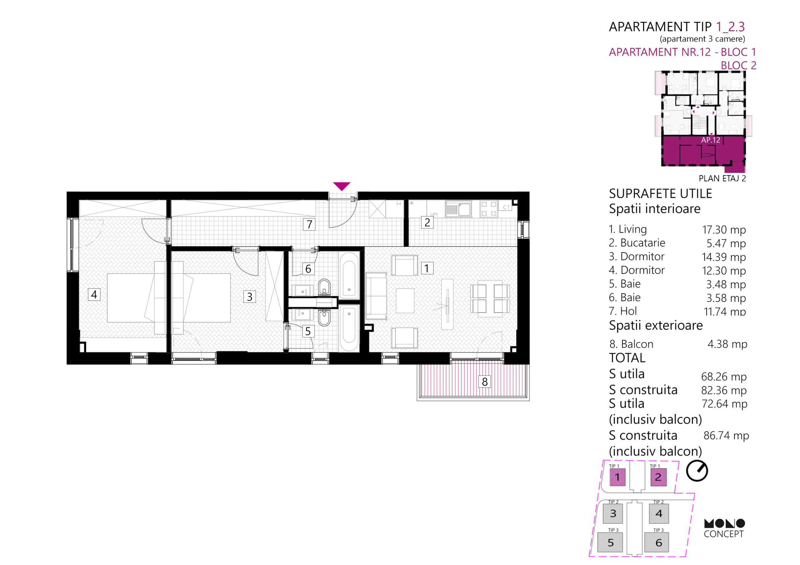 Apartament 3 Camere Etaj 1