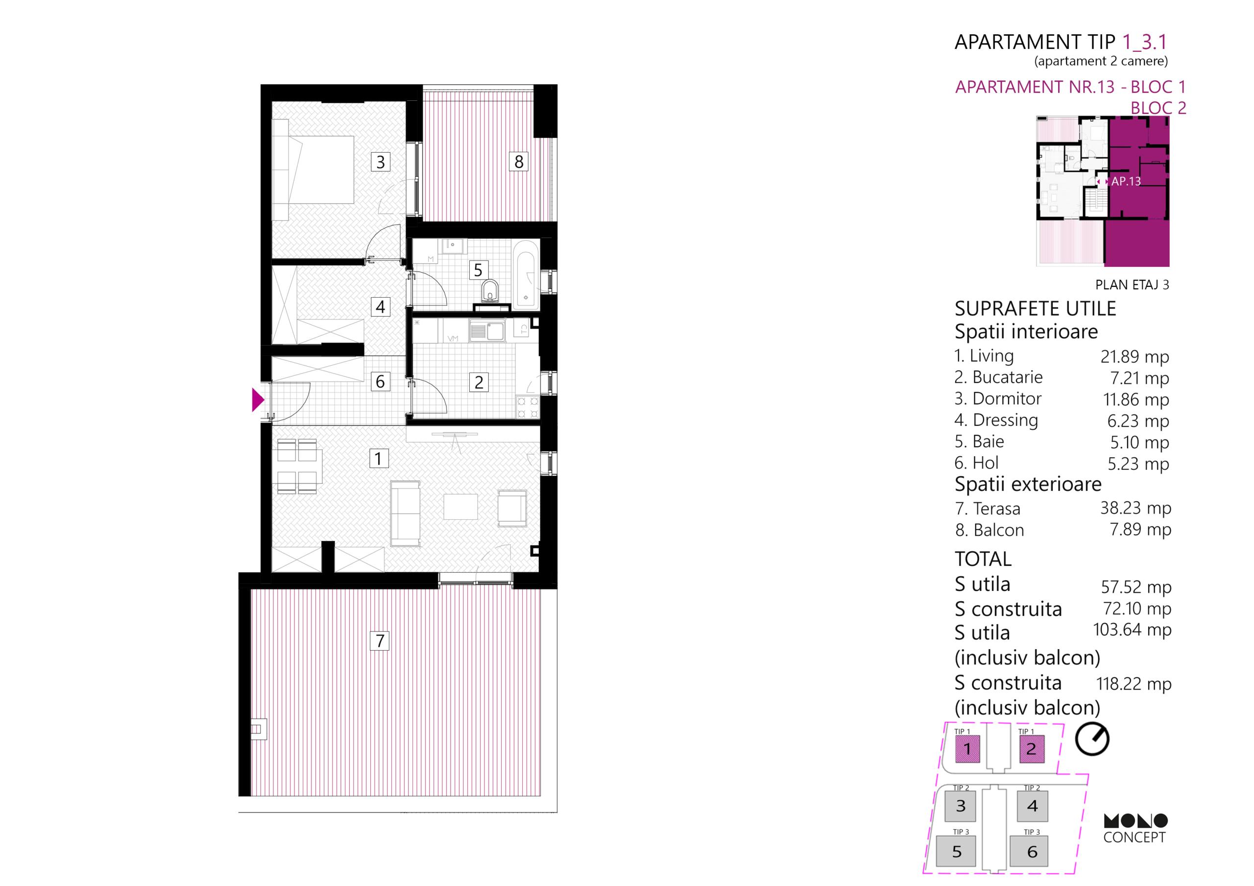 Apartament 2 Camere Etaj 3 Tip B
