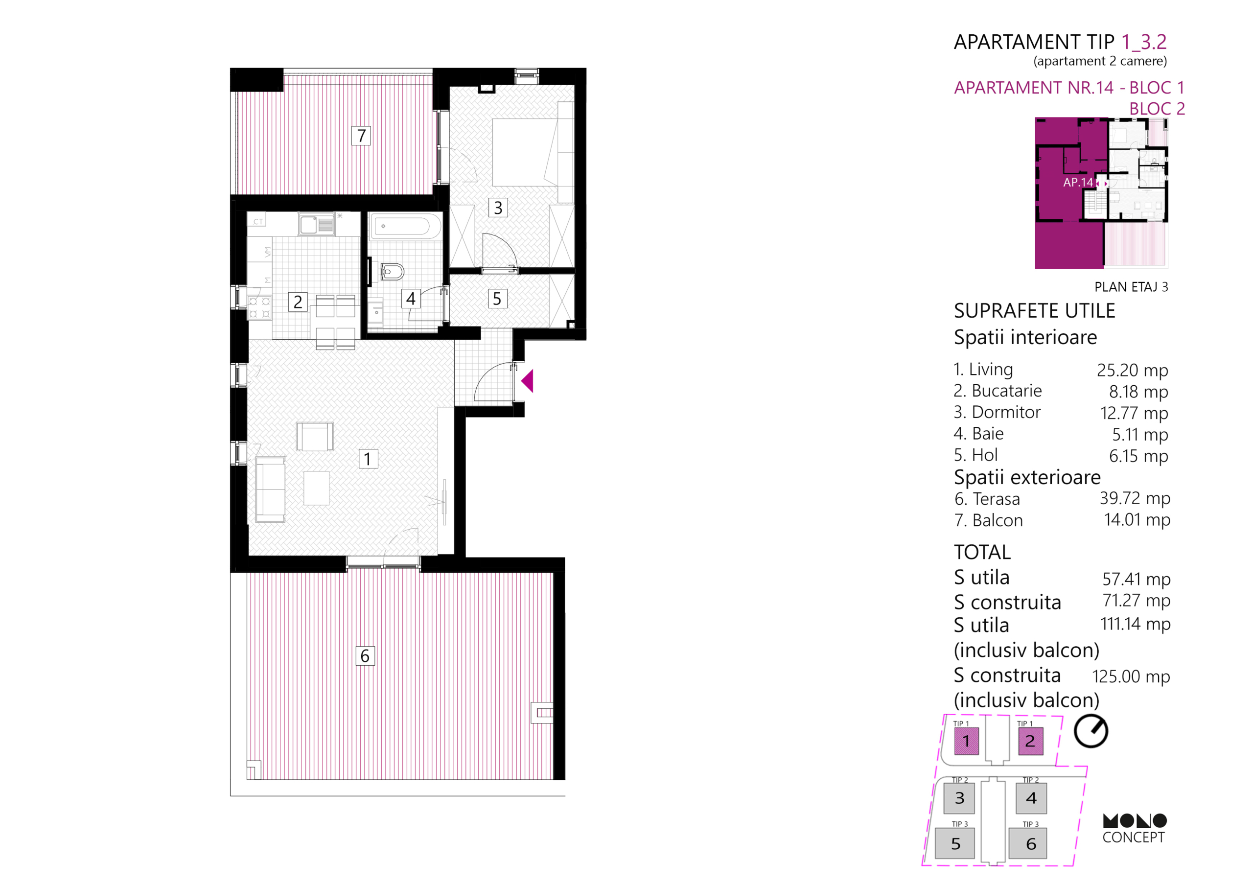 Apartament 2 Camere Etaj 3 Tip A