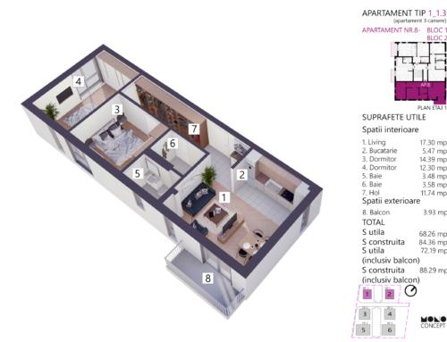 Apartament 3 Camere Tip A Etaj 1 Bloc 2