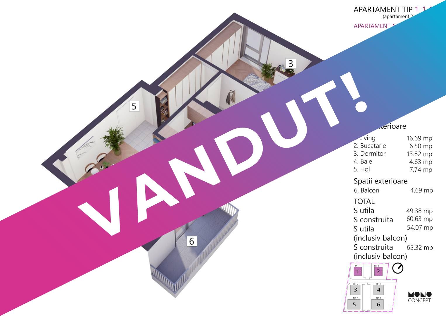 Apartament 2 Camere Etaj 1 Tip A