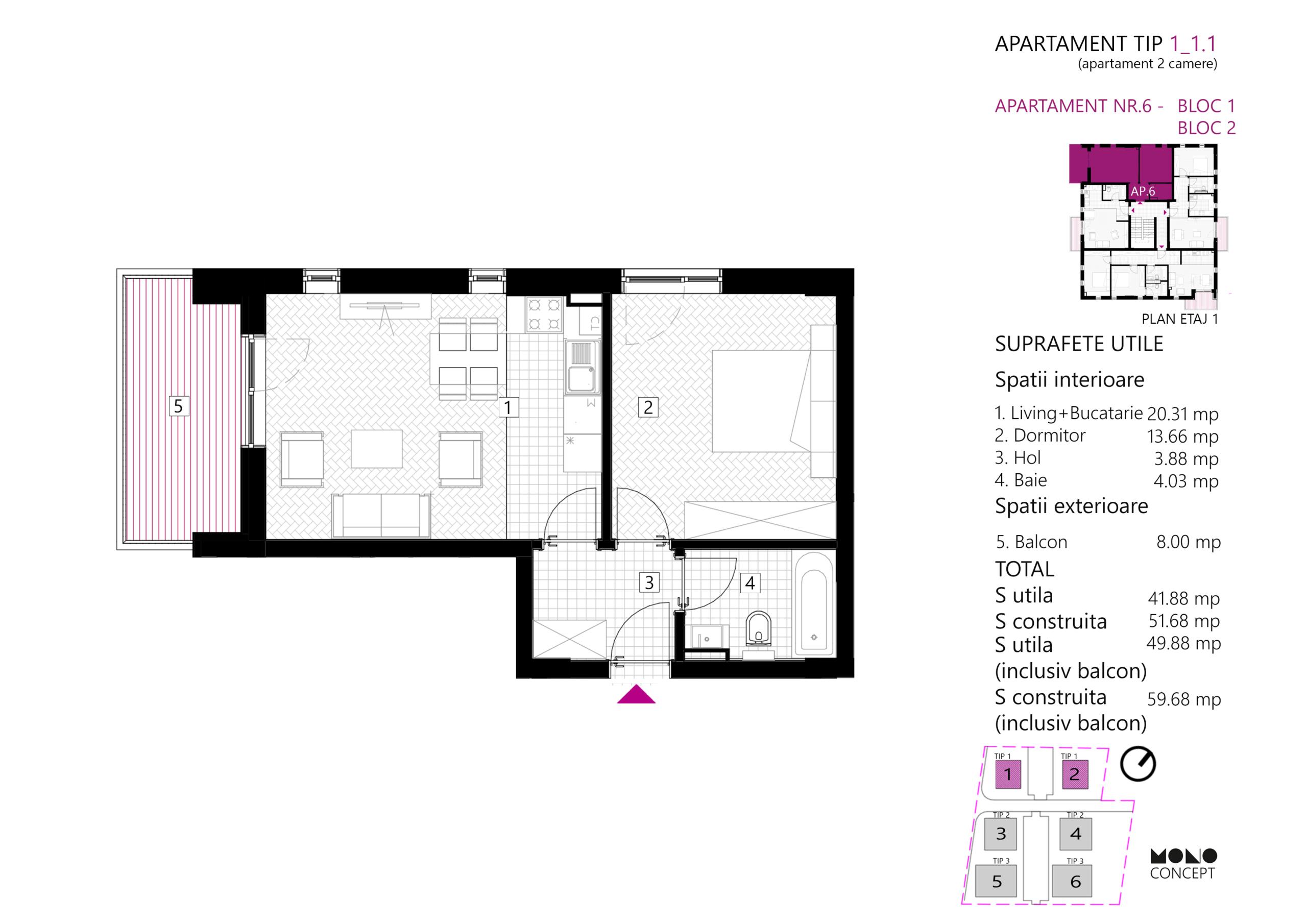 Apartament 2 Camere Etaj 1 Tip B