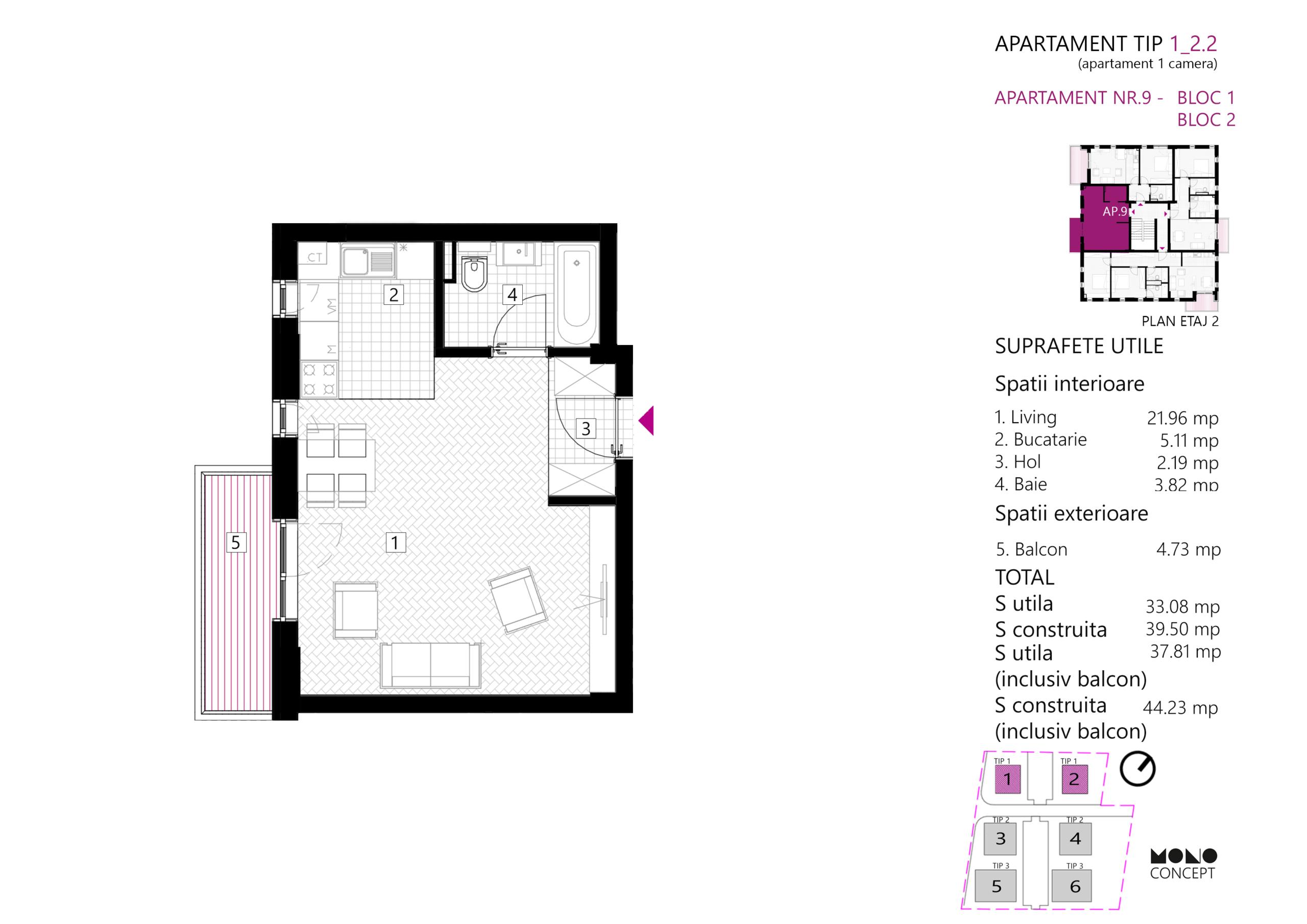 Apartament Studio Etaj 1 Tip A