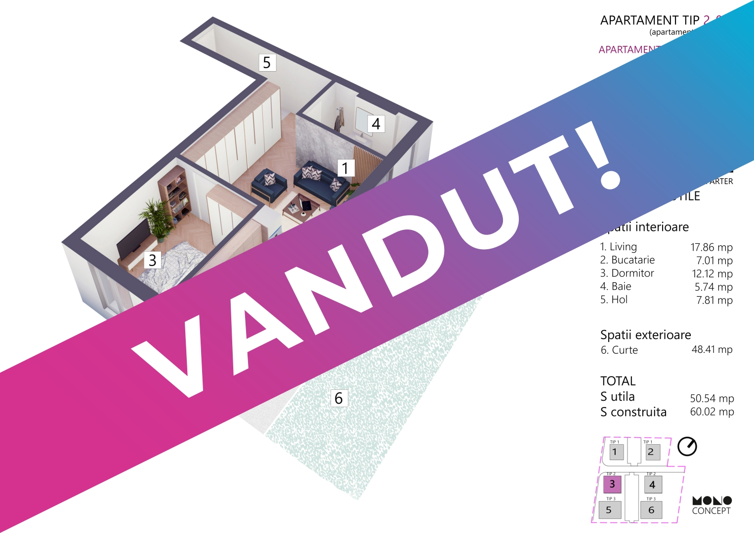 Apartament 2 Camere Parter Bloc 4