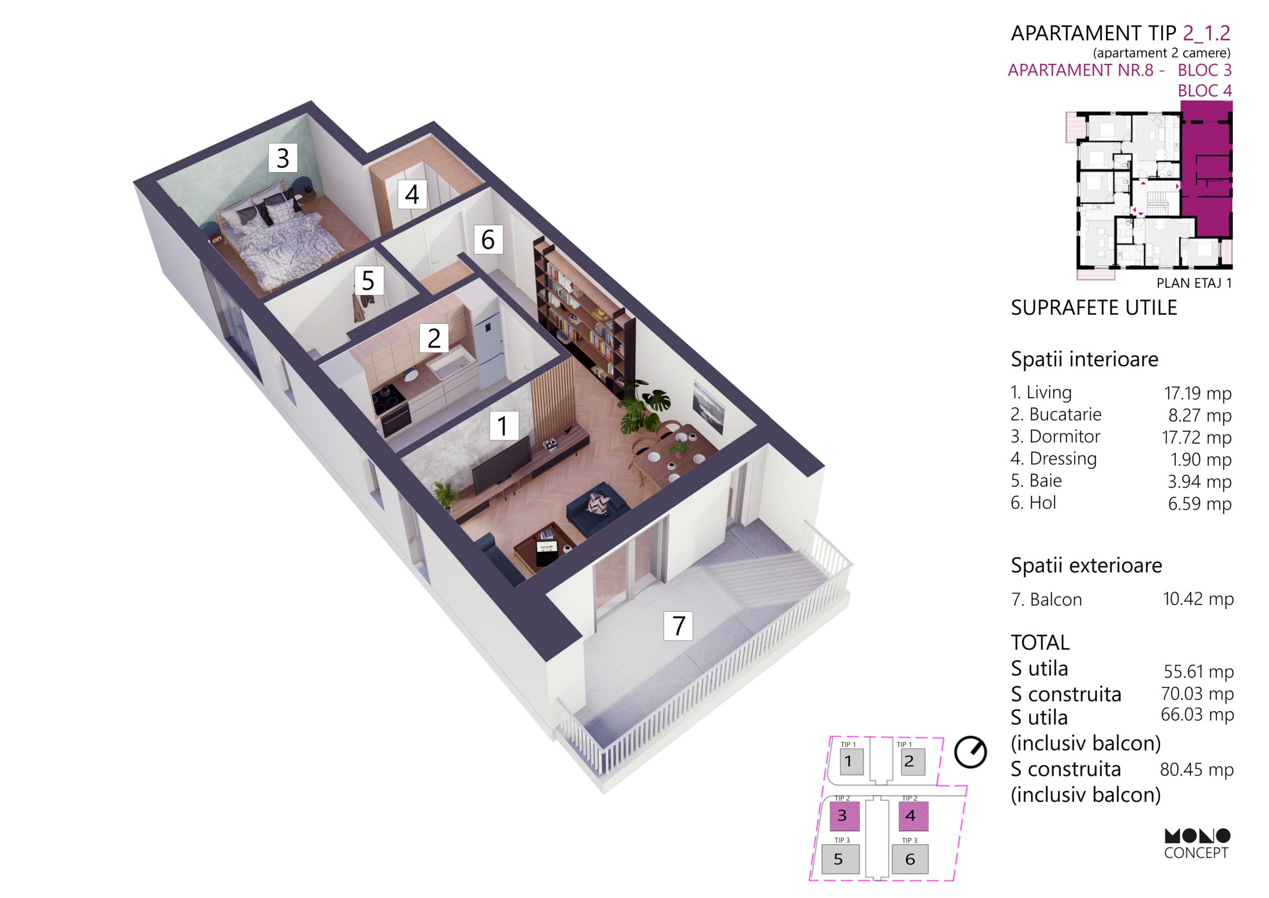 Apartament 2 Camere Bloc 3 Etaj 1