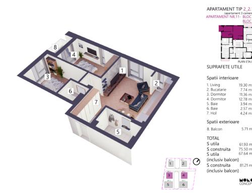 Apartament 3 Camere Tip A Etaj 2 Bloc 4