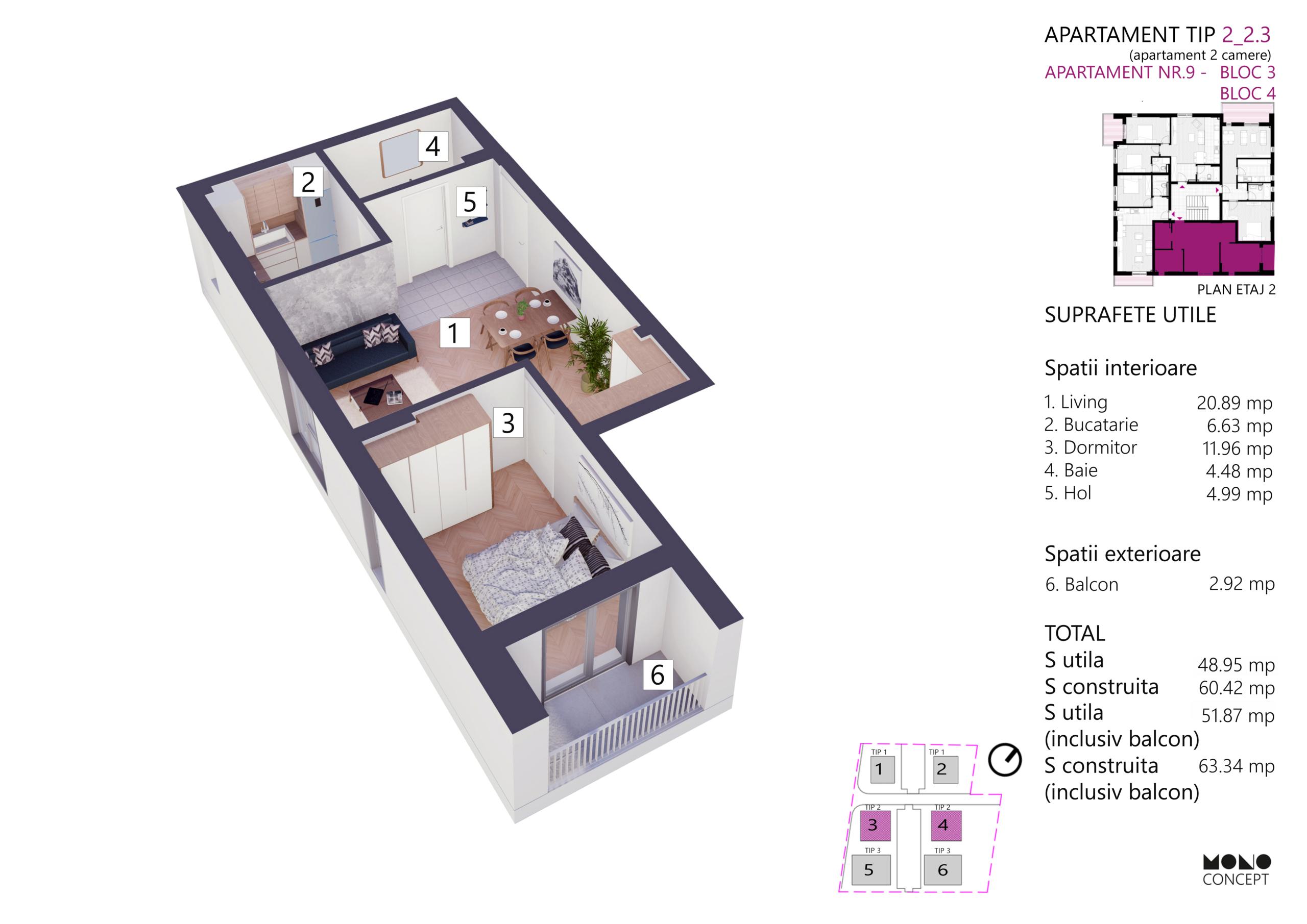 Apartament 2 Camere Etaj 2 Bloc 3