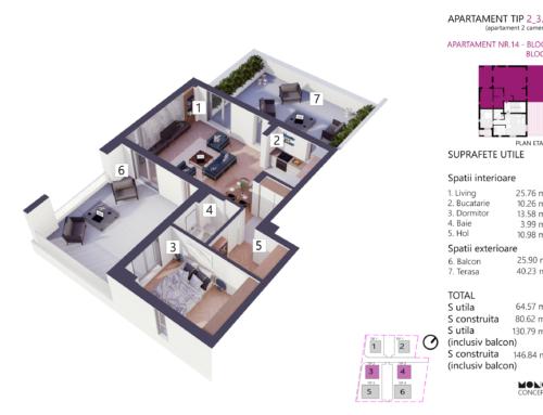 Apartament 2 Camere Tip A Etaj 3 Bloc 4