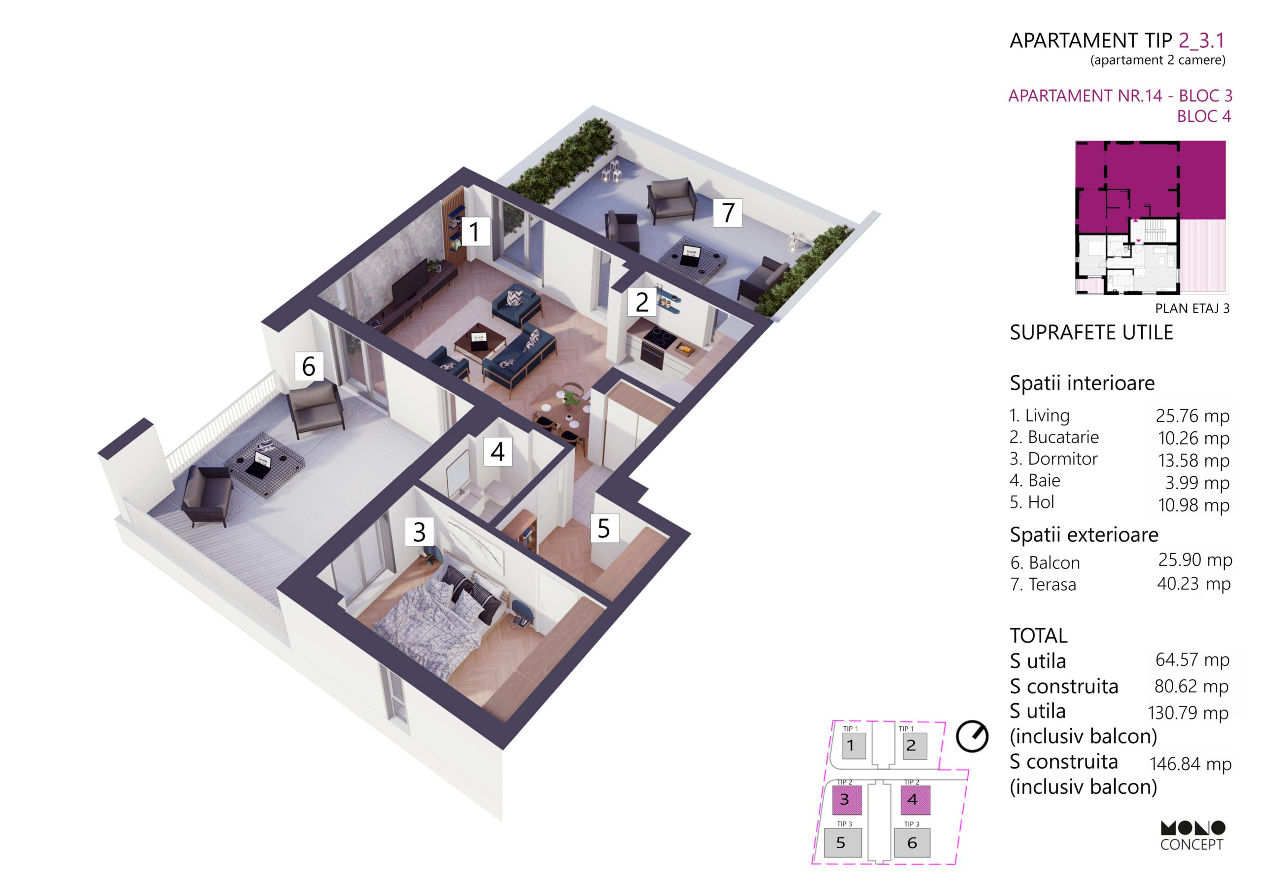 Apartament 3 Camere Bloc 3 Etaj 3