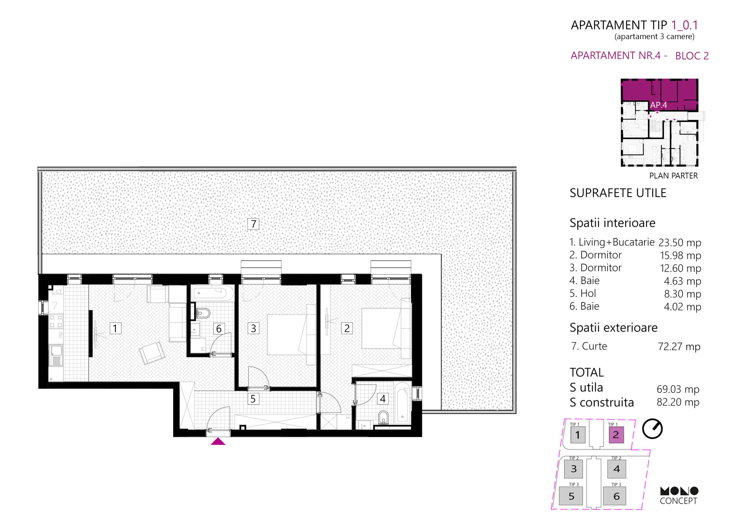 Apartament 3 Camere Parter Tip A Bloc 2