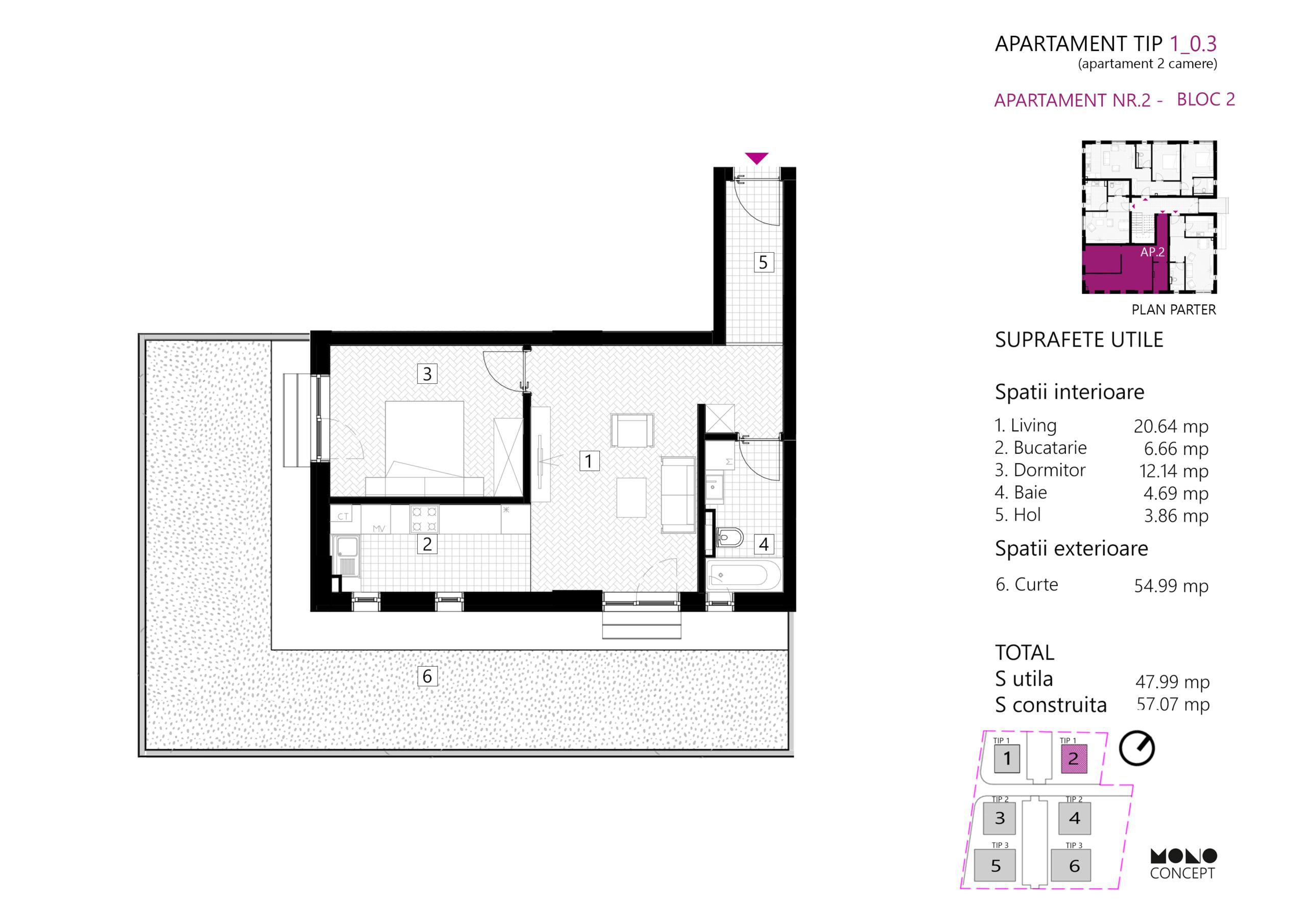 Apartament 2 Camere Parter Tip A Bloc2