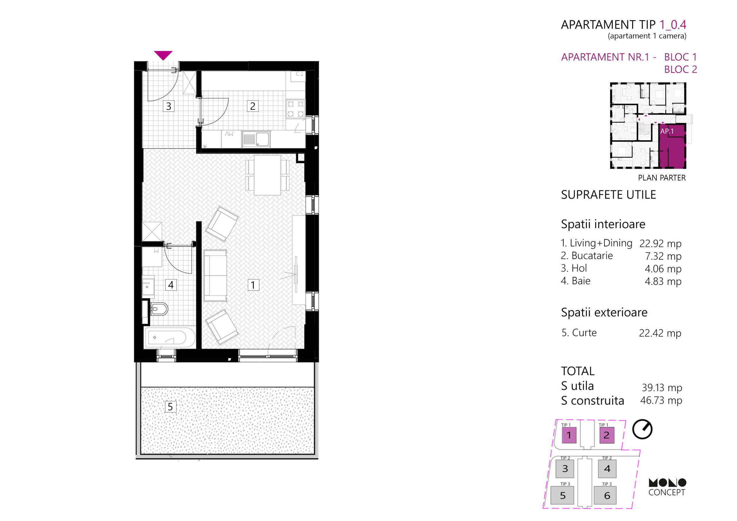Apartament Studio Parter Tip A
