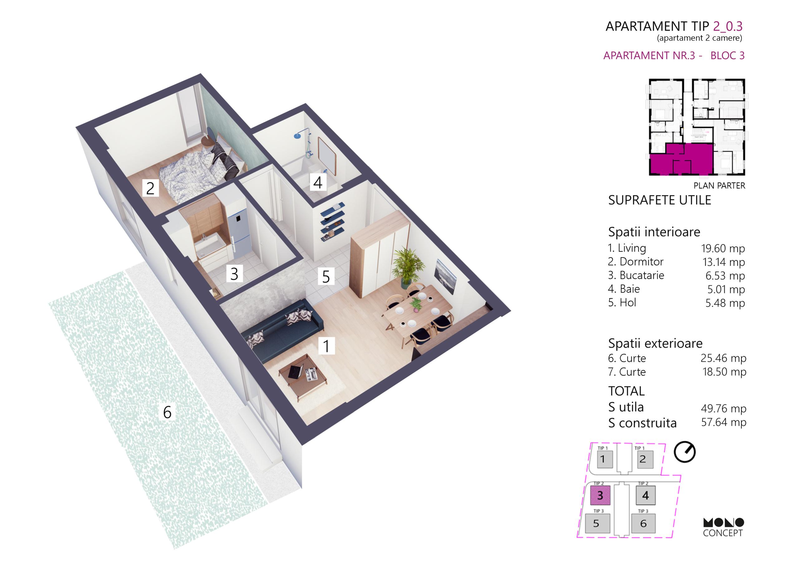 Apartament 2 Camere Parter Bloc 3
