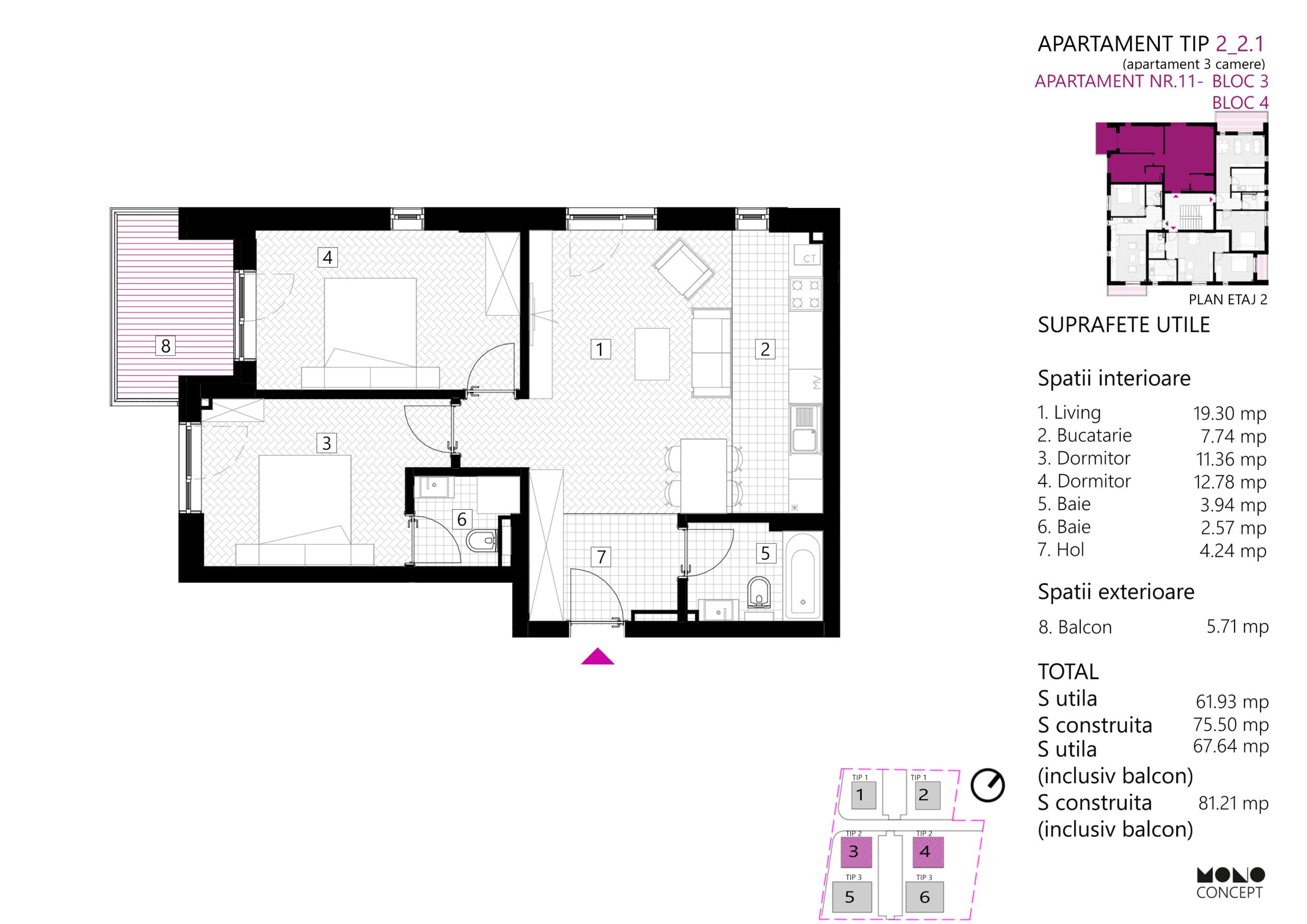Apartament 3 Camere Bloc 3 Etaj 2
